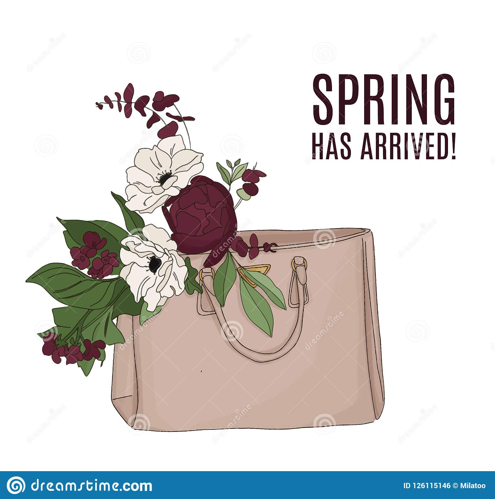 Fashion illustration: luxury bag full of flowers. Beautiful floral composition, spring text. Quote beauty art with