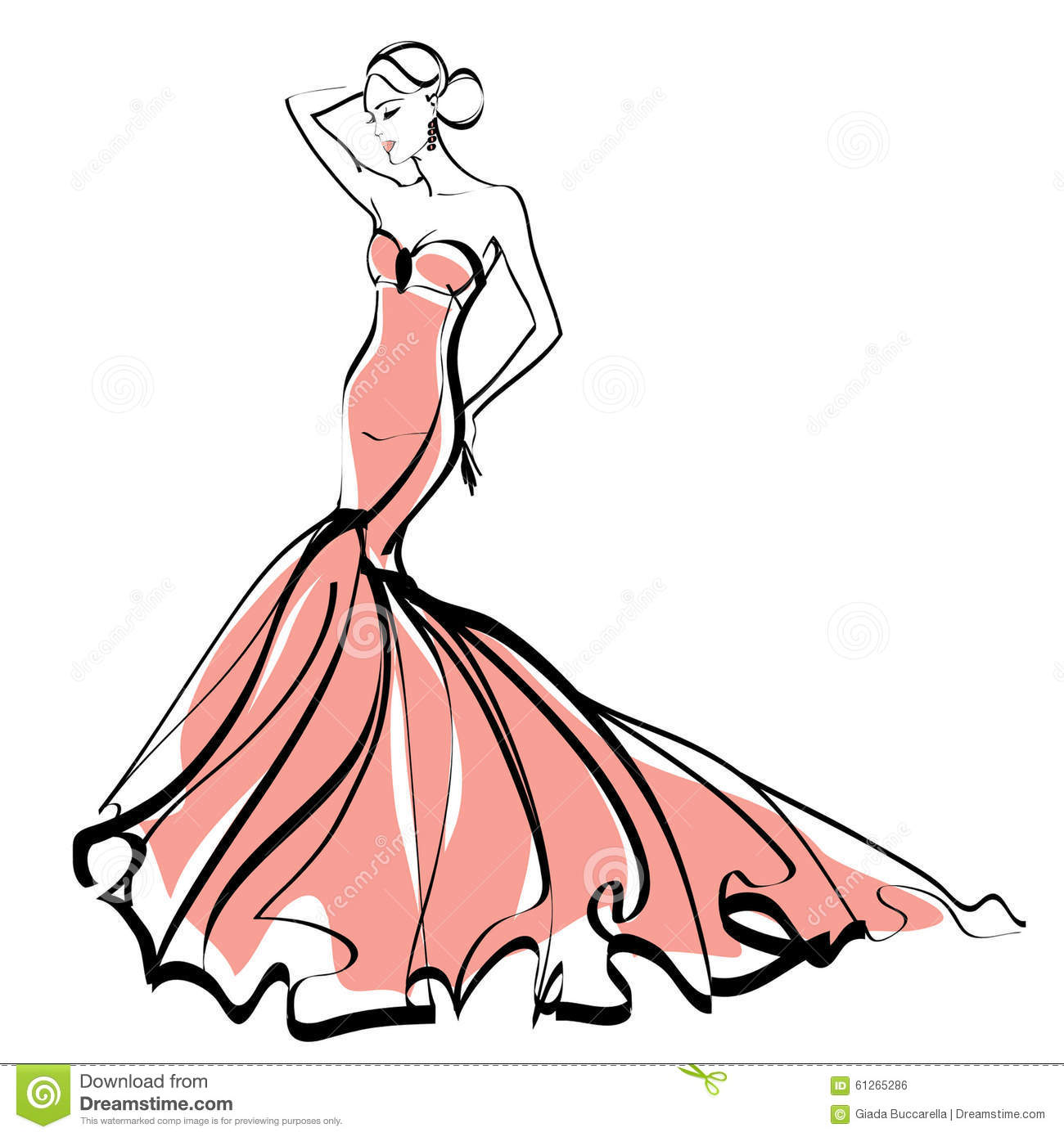 Fashion Illustration - Sketch - Elegant Lady Stock Illustration ...