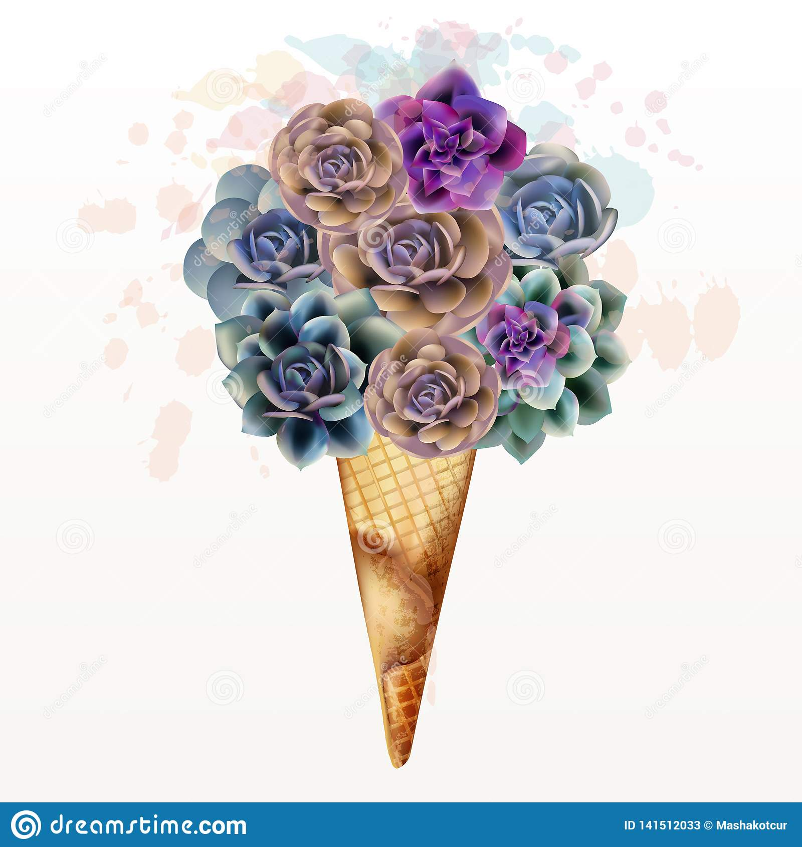 Fashion illustration, T-shirt print with creative ice cream from succulents