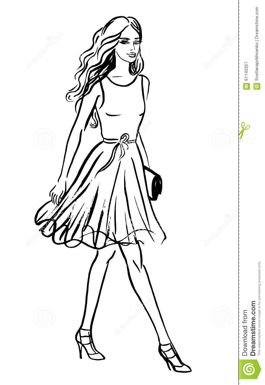 Fashion Illustration Of Walking Woman Stock Vector Image