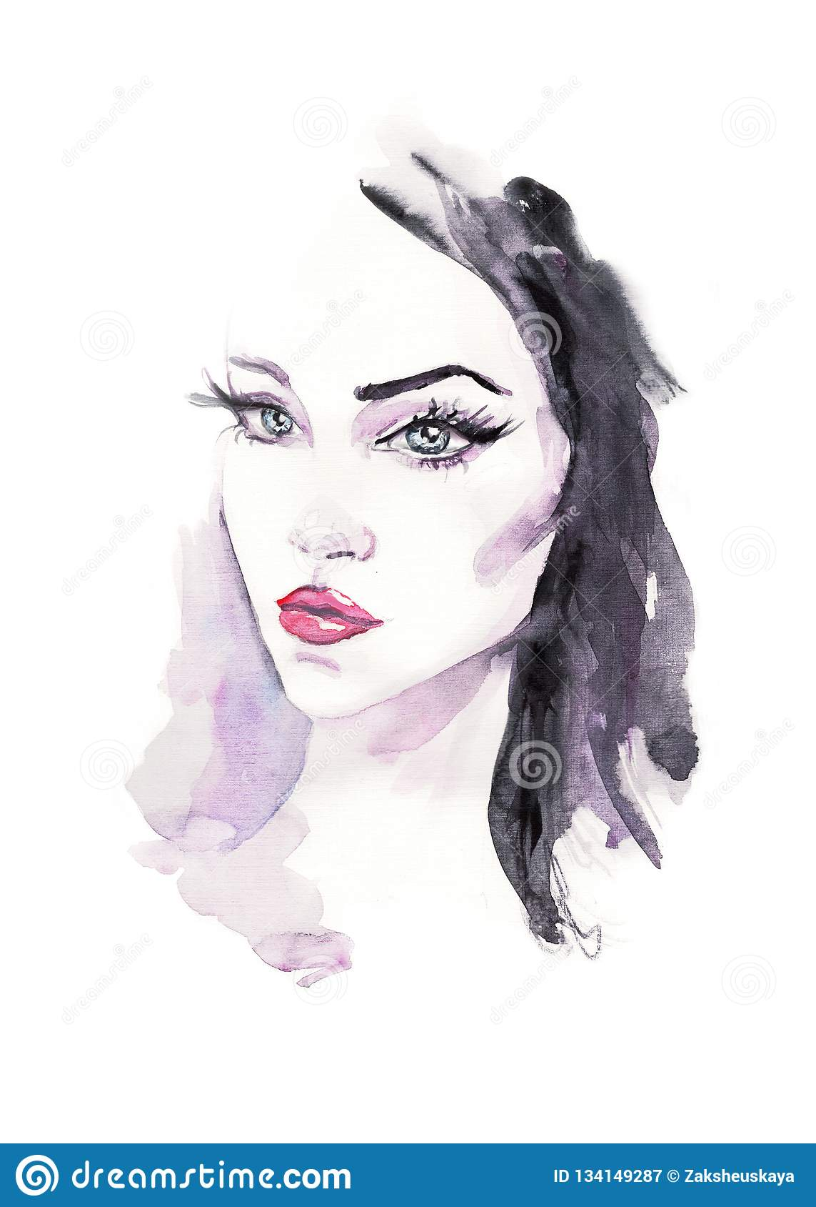 Fashion Illustration Watercolor Woman Face Hand Painted Illustration Stock Illustration Illustration Of Lips Background 134149287