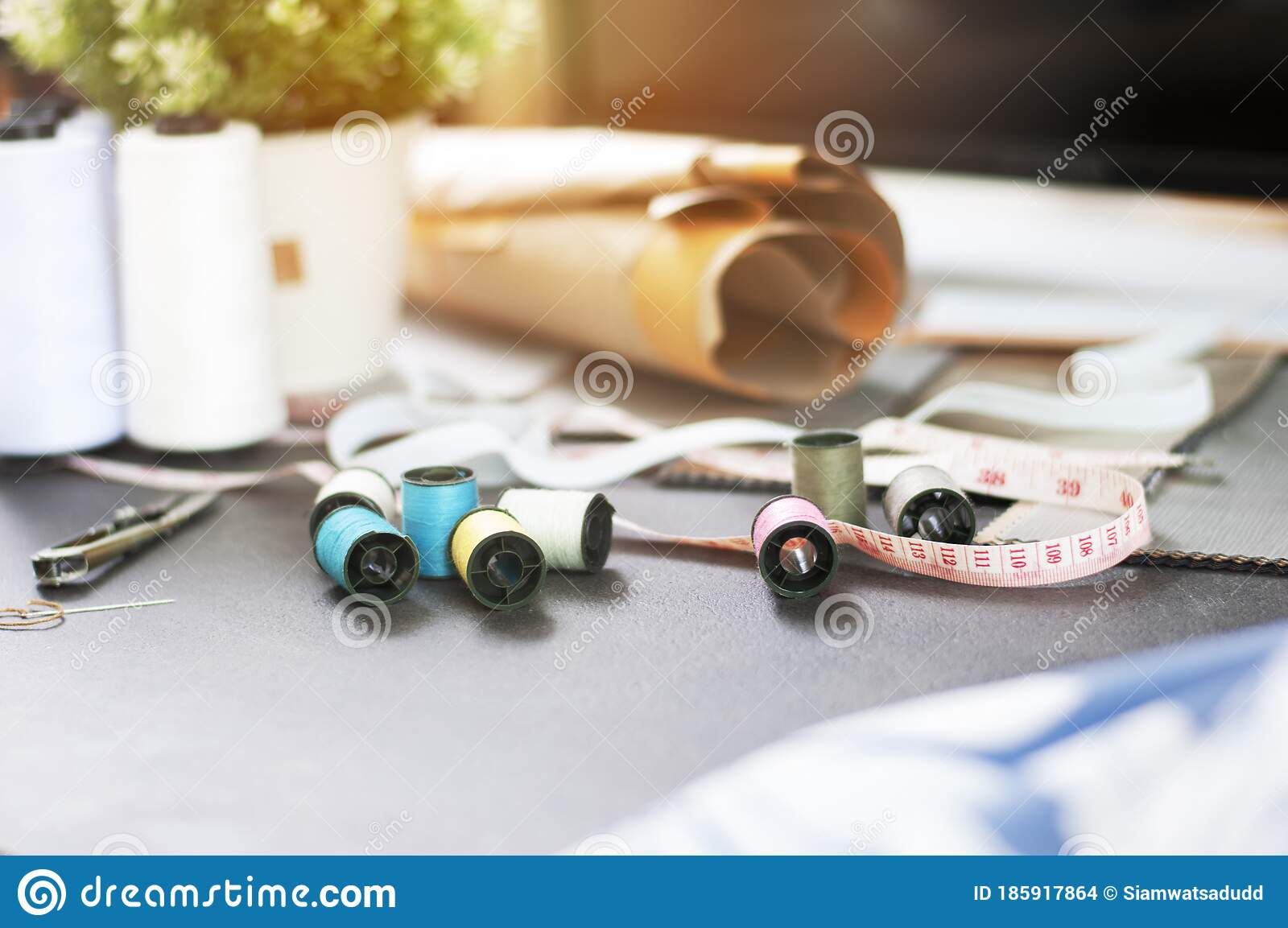 Fashion Industry Fashion Design Working Studio Set Of Tailor Accessories Stock Photo Image Of Female Clothes 185917864
