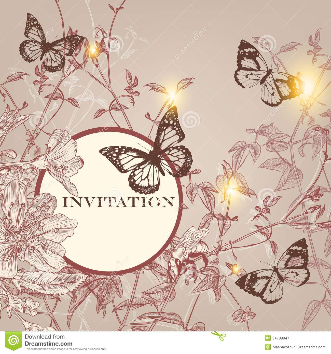 Fashion invitation card in vintage style royalty free for Fashion style wallpaper