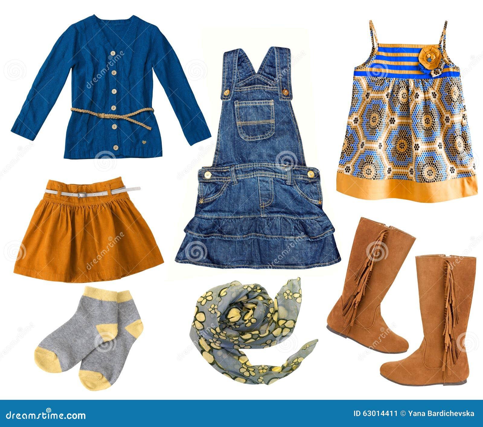 Fashion kid 39 s clothing set collage of child girl 39 s clothes stock image image 63014411 Mla winter style fashion set