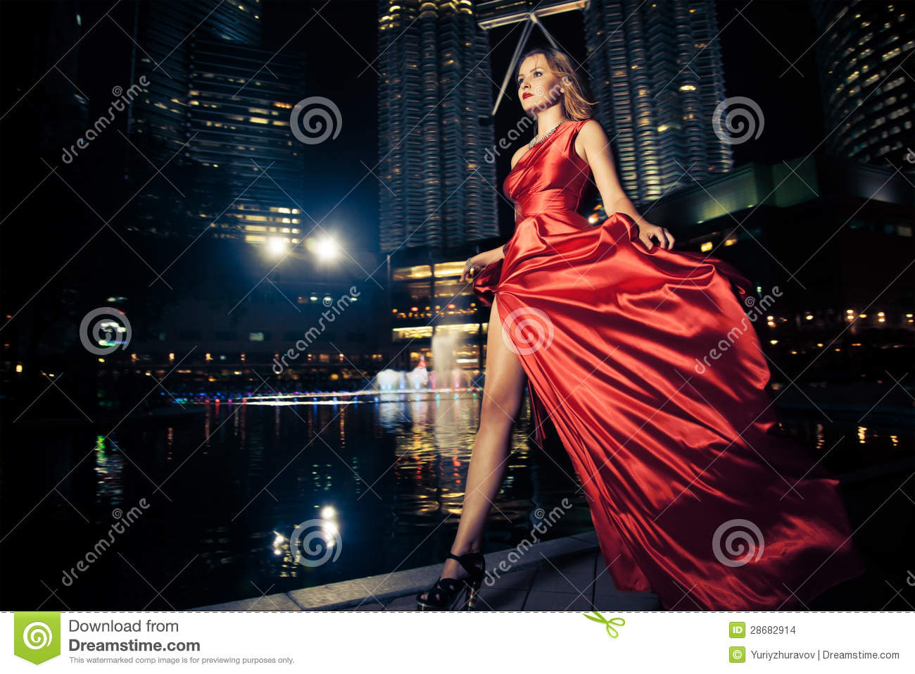 Fashion Lady In Red Dress And City Lights Stock Photo ...