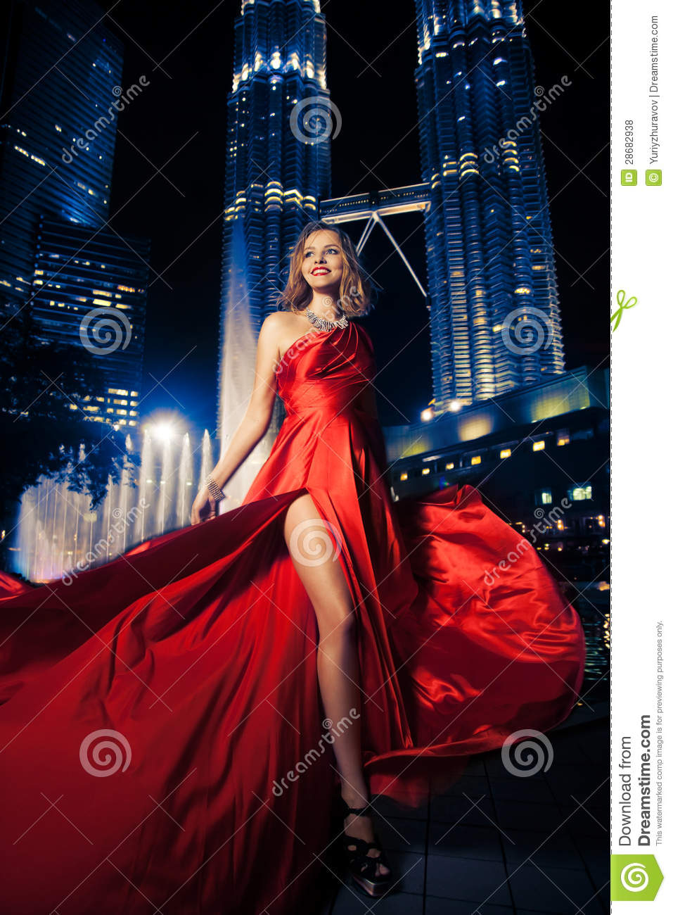 fashion lady in red dress and city lights stock photo image 28682938. Black Bedroom Furniture Sets. Home Design Ideas