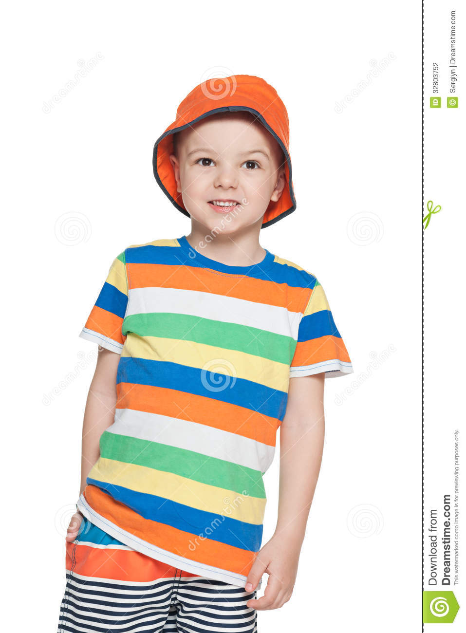 Fashion Little Boy In Cap Looks Up Stock Photography Image 32803752