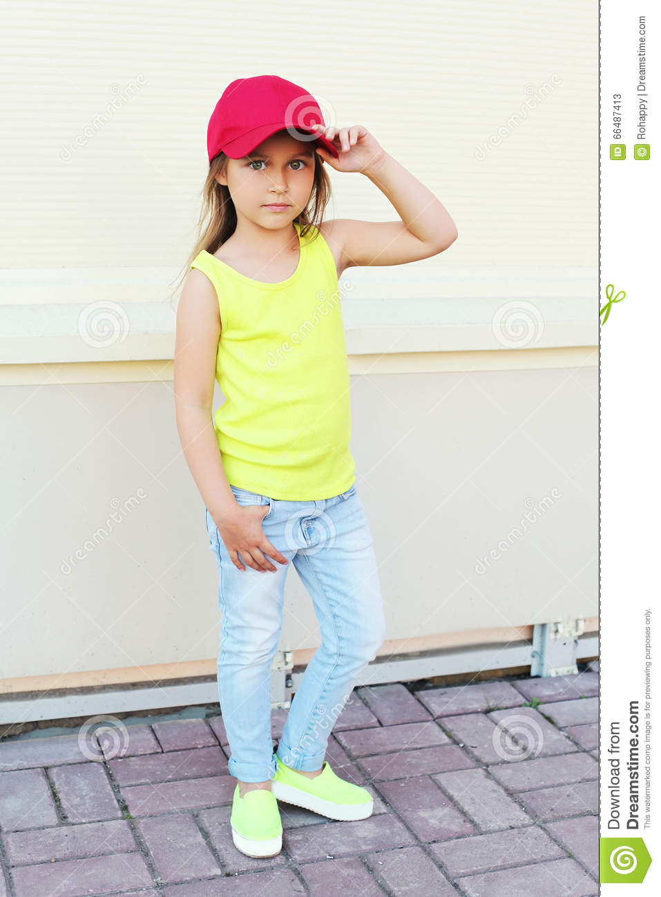 Fashion Little Girl Child Wearing A Baseball Red Cap Stock Image ... 581e281d616e