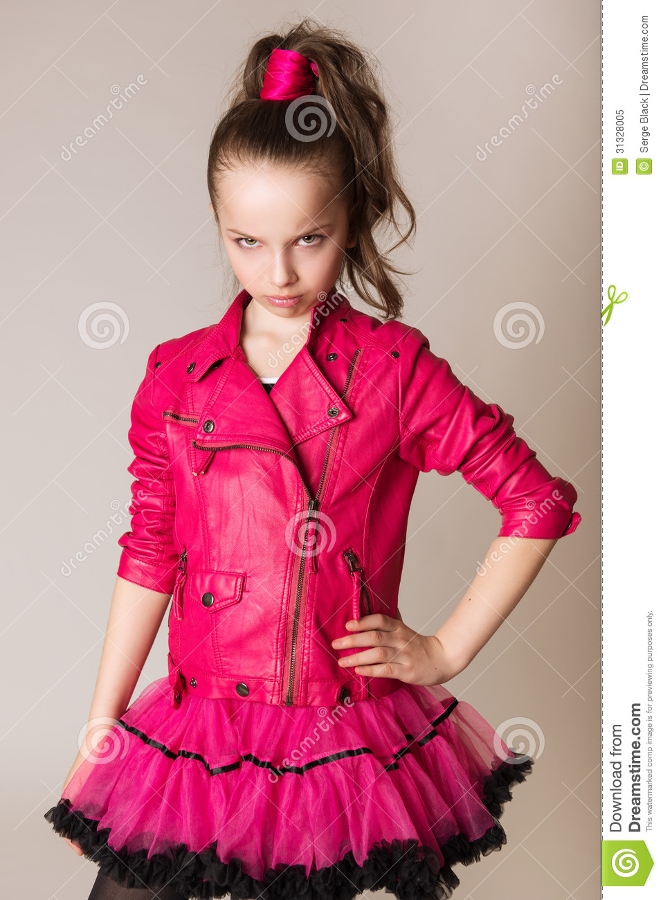 Fashion Little Girl In Glam Rock Style Royalty Free Stock