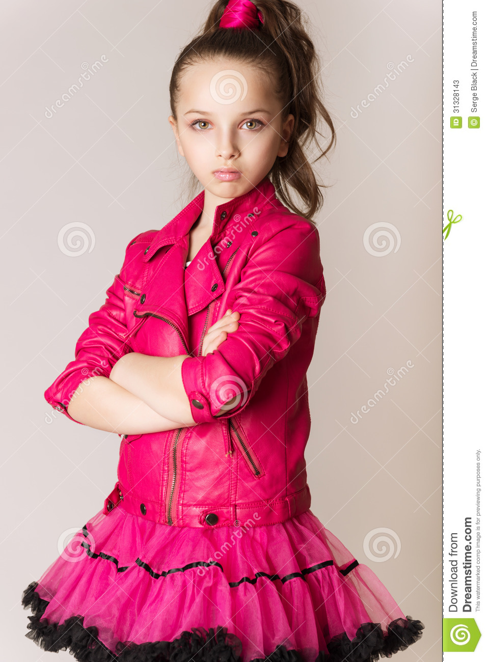 Fashion Little Girl In Glam Rock Style Stock Photos