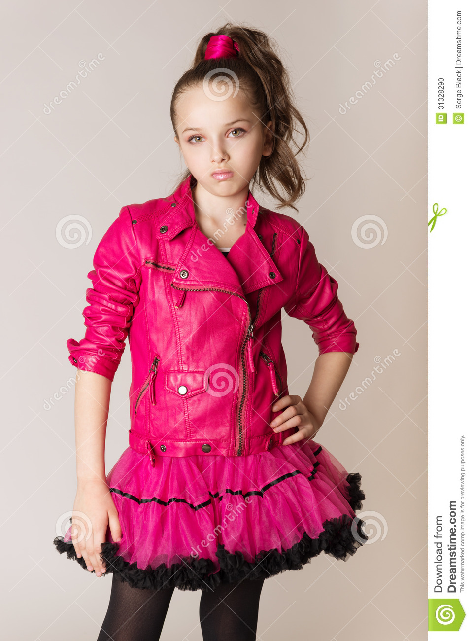 Fashion Little Girl In Glam Rock Style Stock Photo Image
