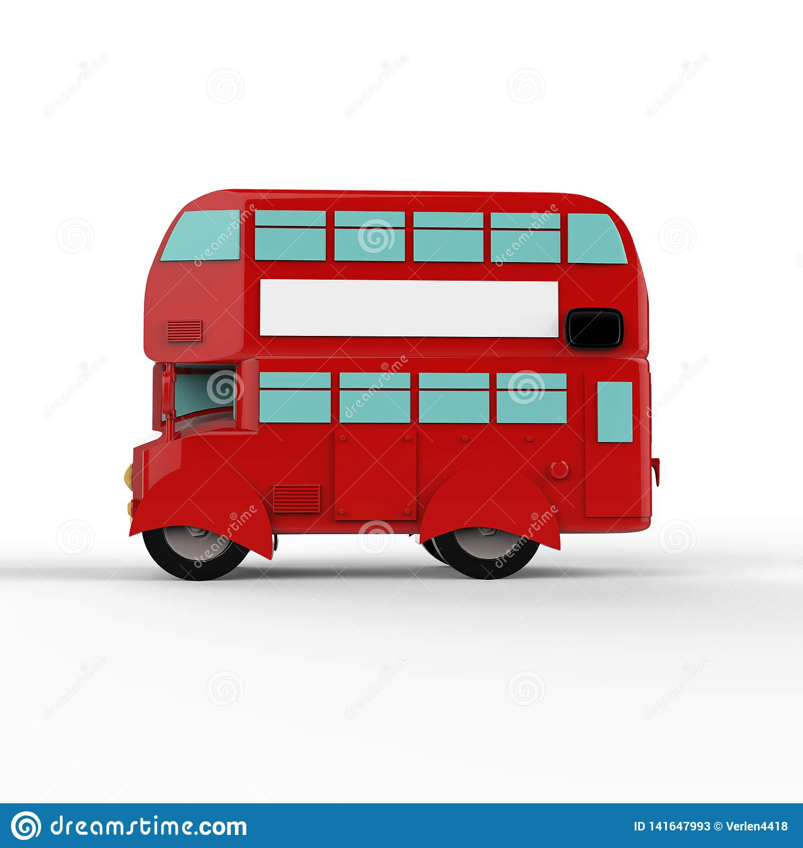 Fashion london doubledecker red bus. 3d render