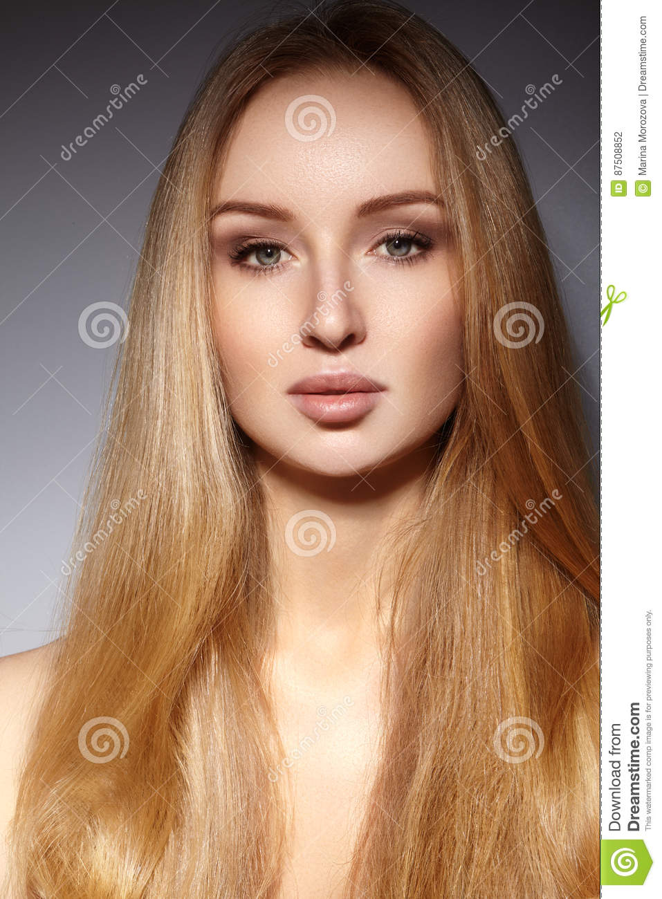 model hair style hairstyle beautiful model with shiny hair stock 8077
