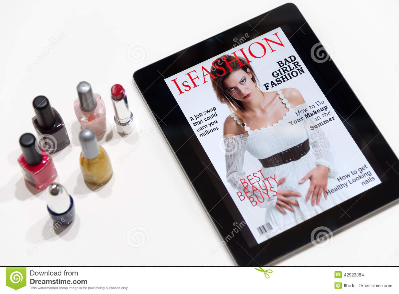 Fashion: Magazine Cover On A Tablet Stock Photo - Image of cool ...