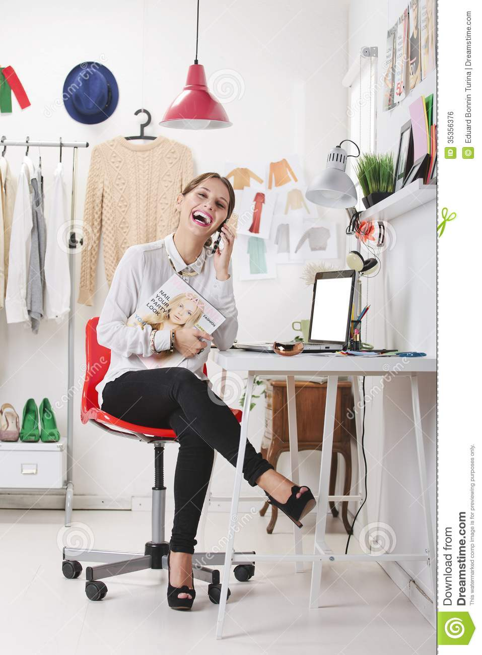 Fashion Magazine Editor In Her Office Talking With Smart Phone Stock Photo Image 35356376