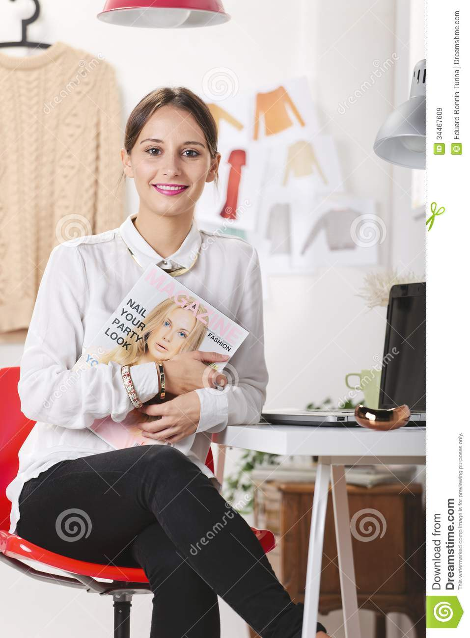 Fashion Magazine Editor In Her Office Stock Image Image 34467609