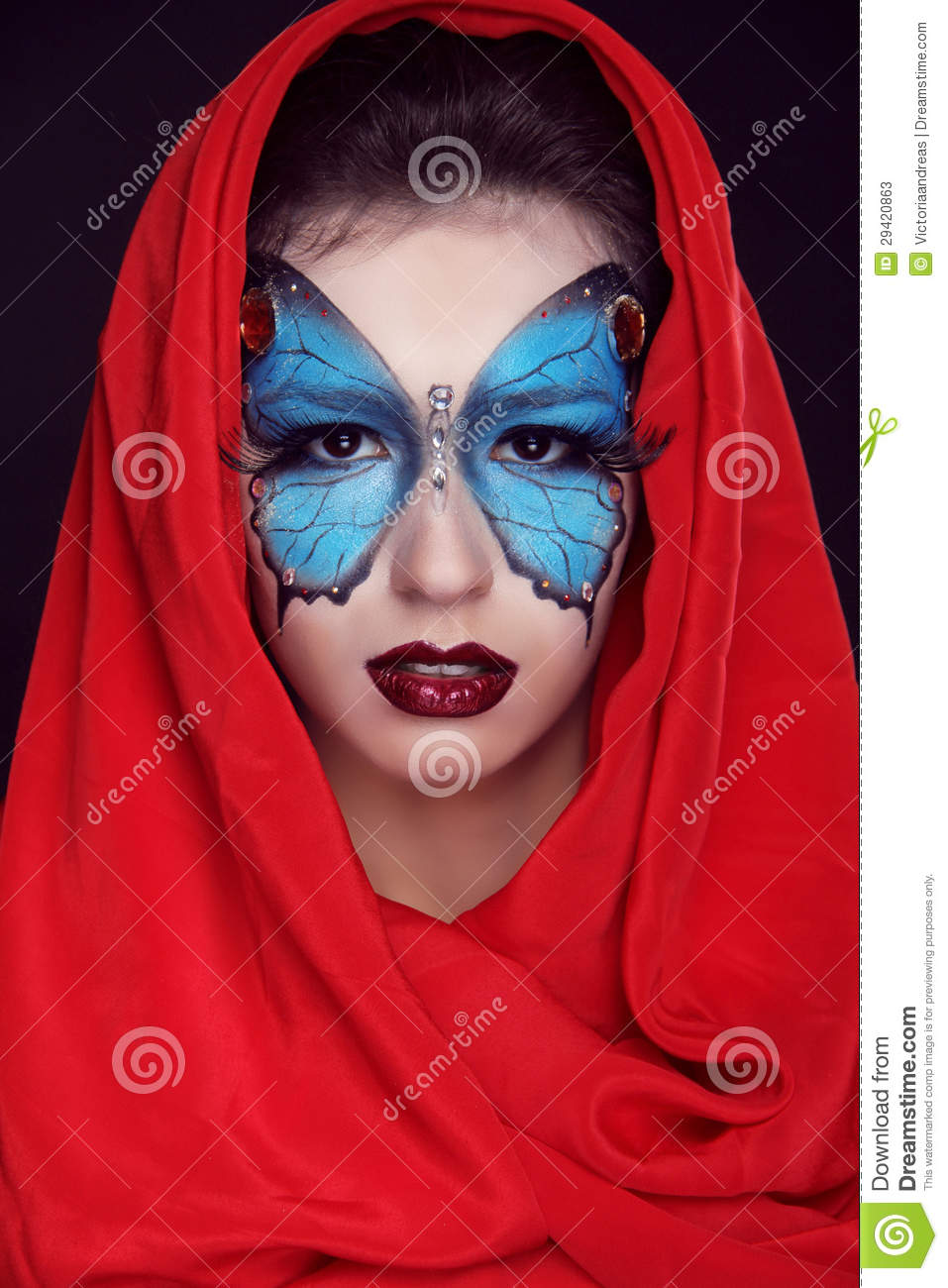 Fashion Make Up. Butterfly Makeup On Face Beautiful Woman ...