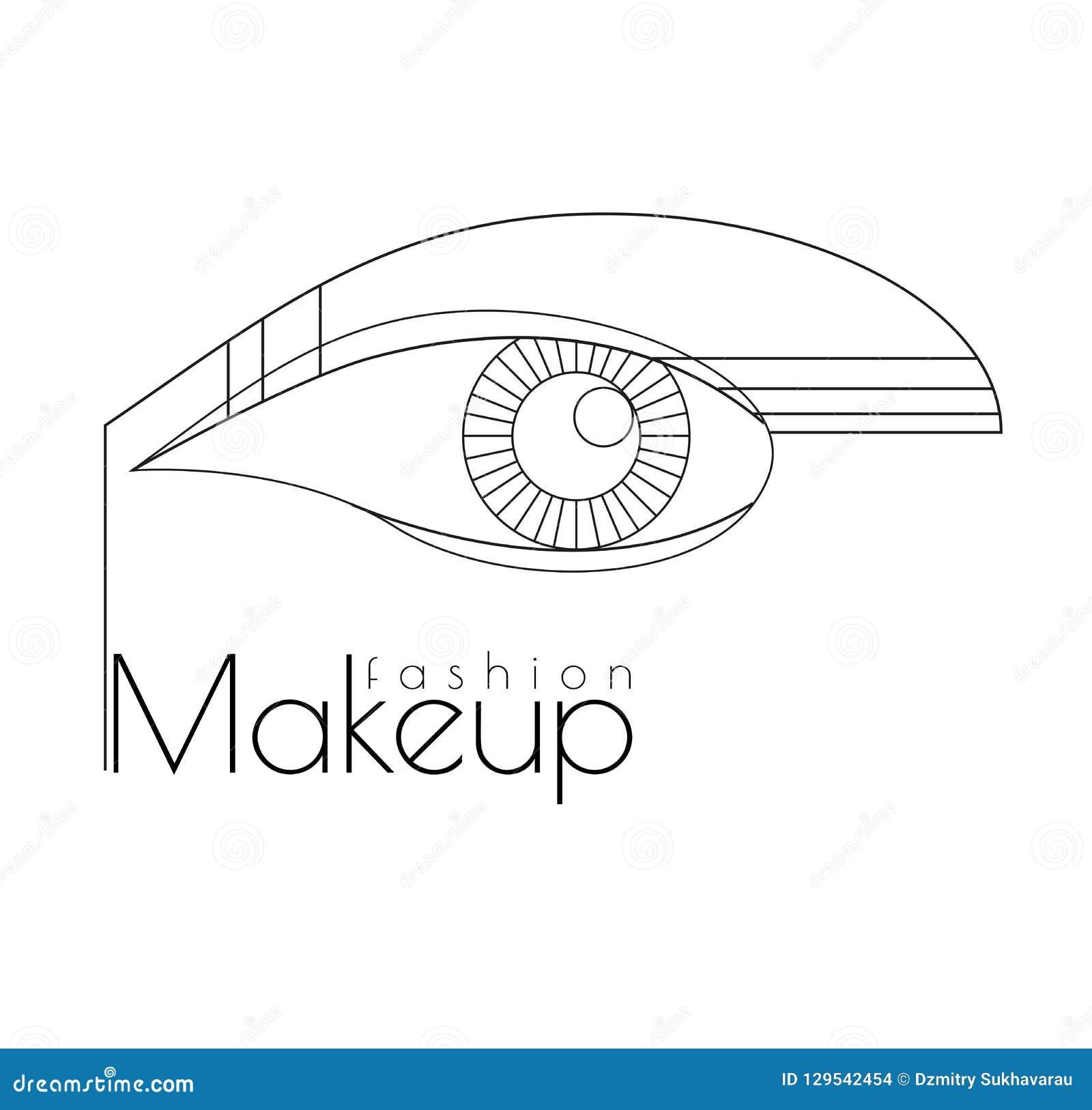 Fashion makeup. Art Deco Illustration. Abstract Line art.