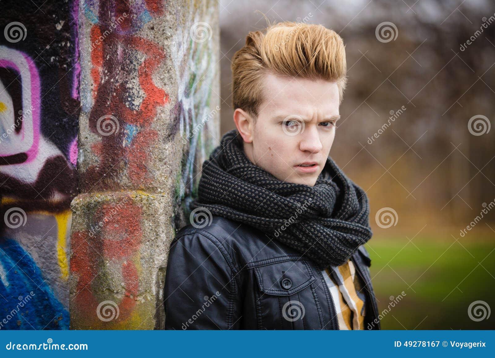 Fashion Male Portrait On Graffiti Wall Stock Image , Image