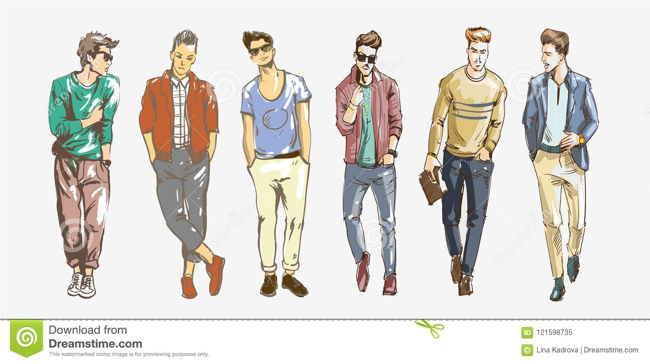 2019 year for lady- Illustration Fashion sketches for men