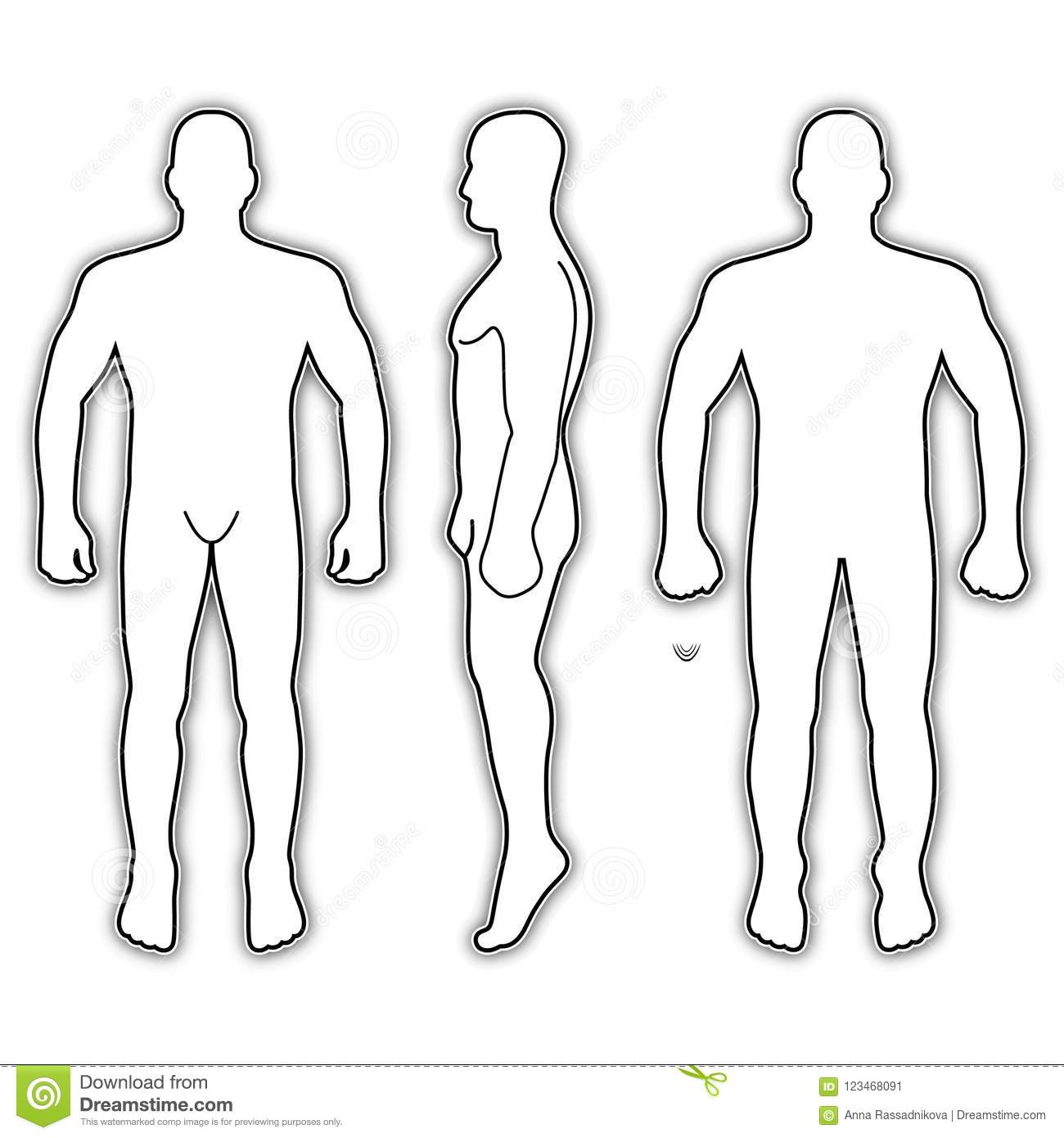 Fashion Man Body Full Length Bald Template Figure Silhouette Front Back And Side Views Vector Illustration Isolated On White Background