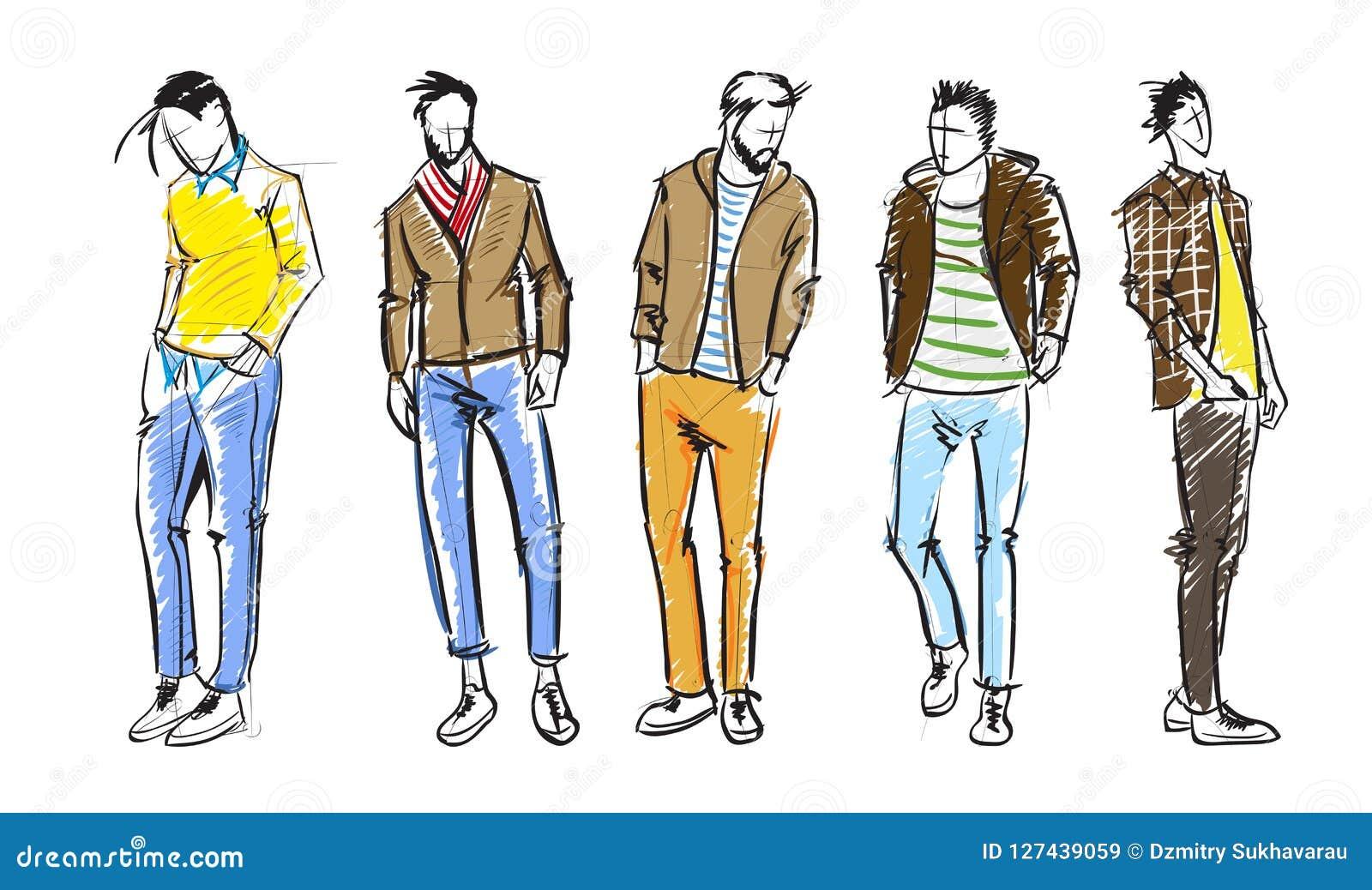 Fashion Man. Fashion Men Sketches On A White Background