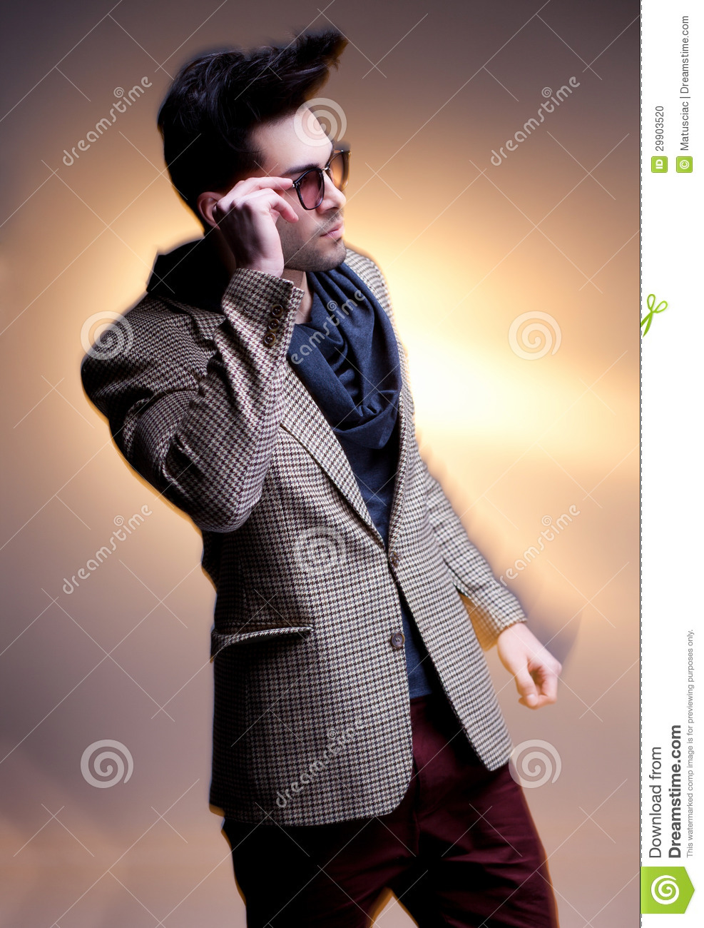 Fashion Man Model Dressed Casual Posing Dramatic Stock