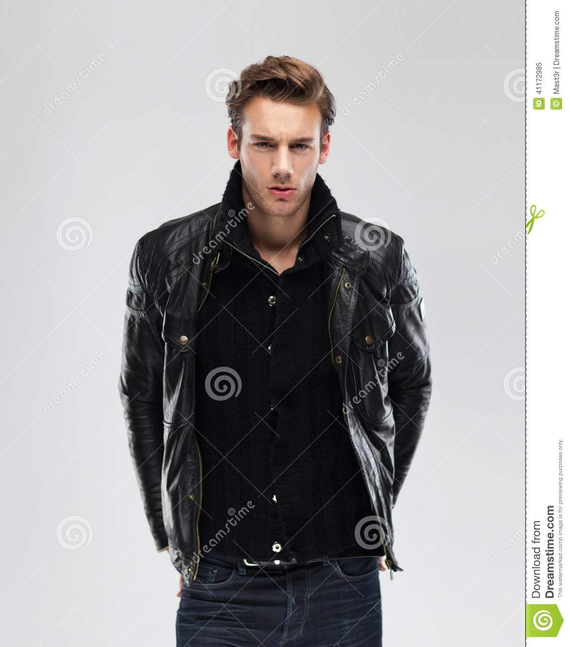 Fashion Man, Model Leather Jacket, Gray Background Stock Photo ...