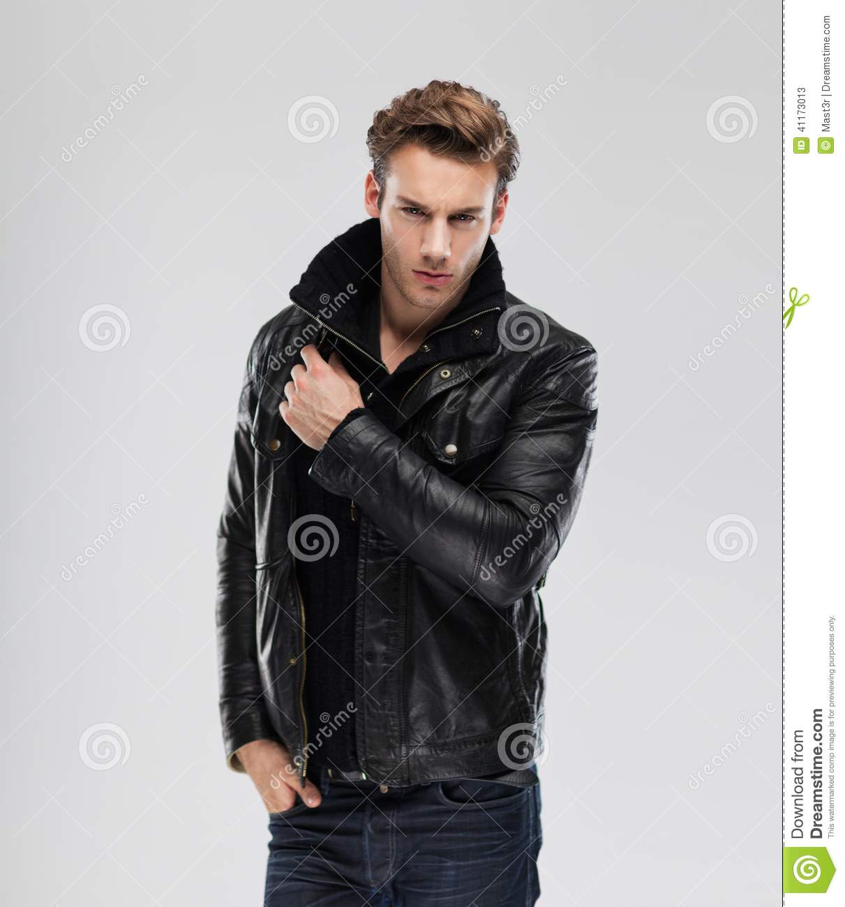 Man with leather jacket