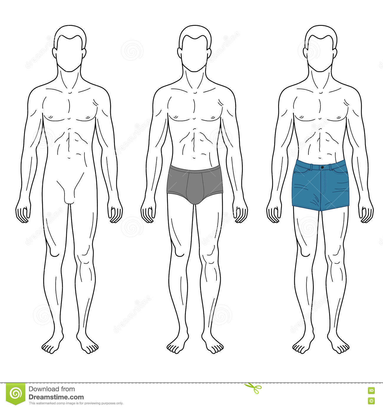 fashion man outlined template full length figure silhouette stock