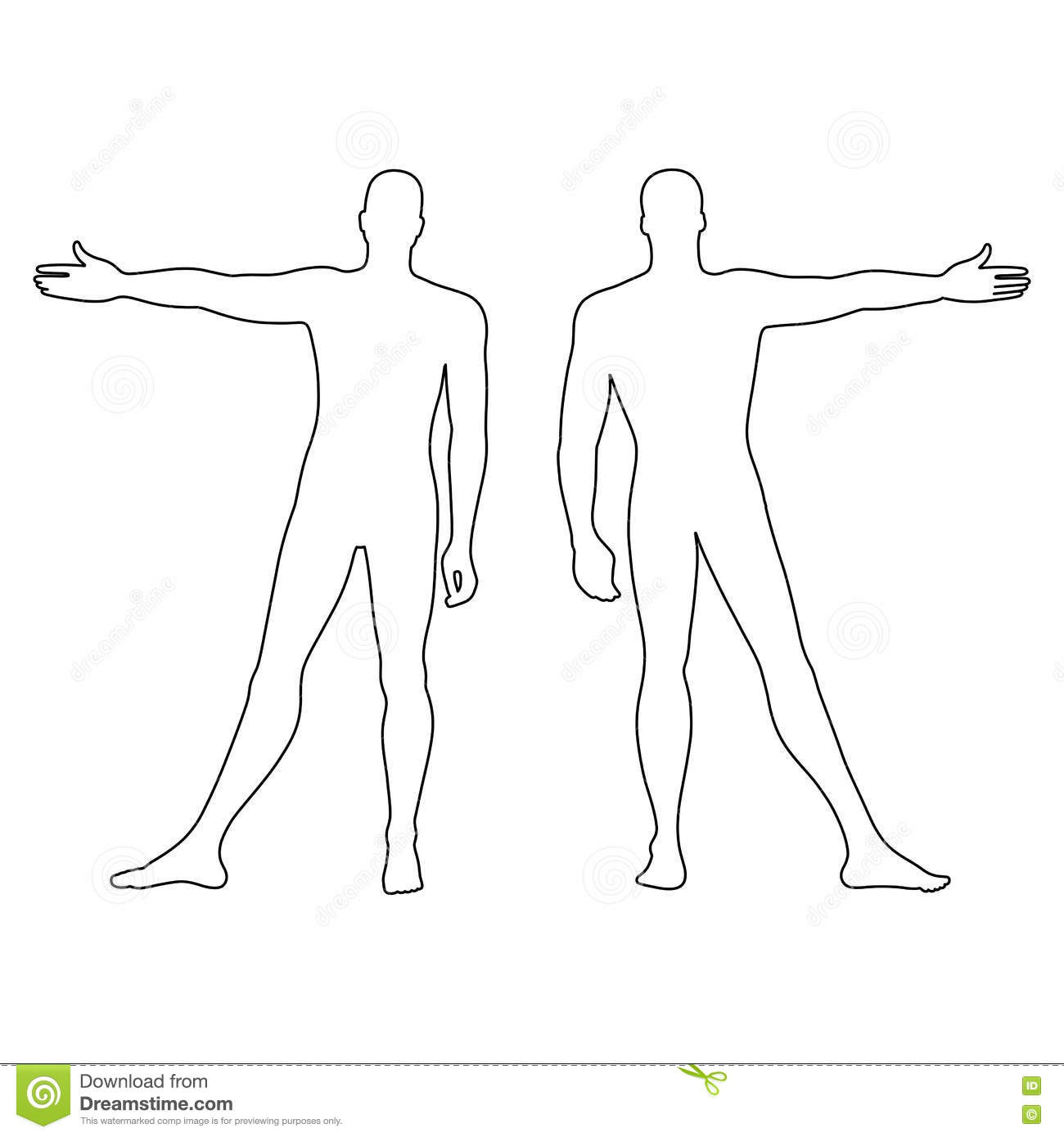 fashion man u0026 39 s outlined template figure silhouette  front