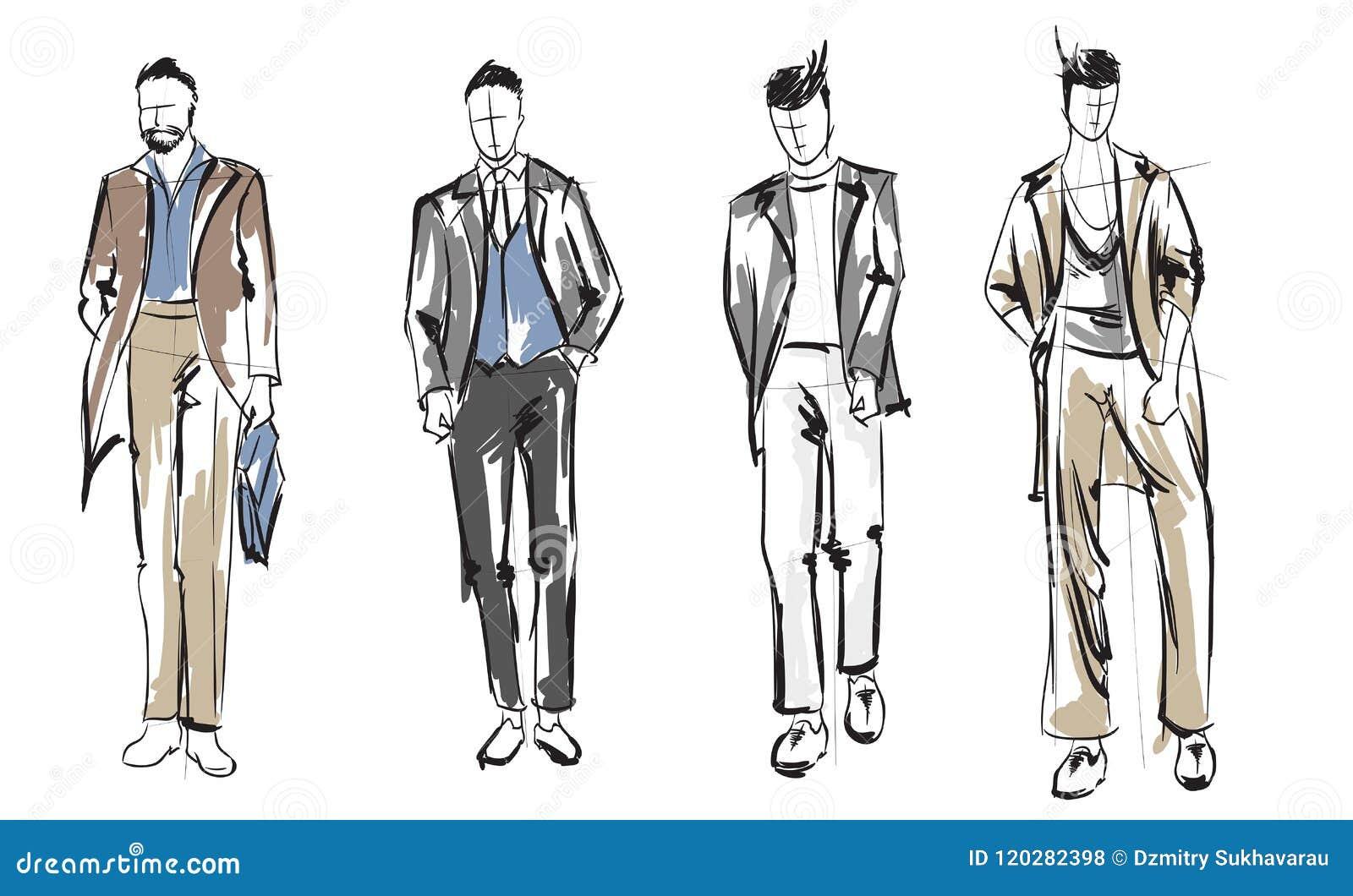 Fashion Man. Set Of Fashionable Men`s Sketches Stock Vector
