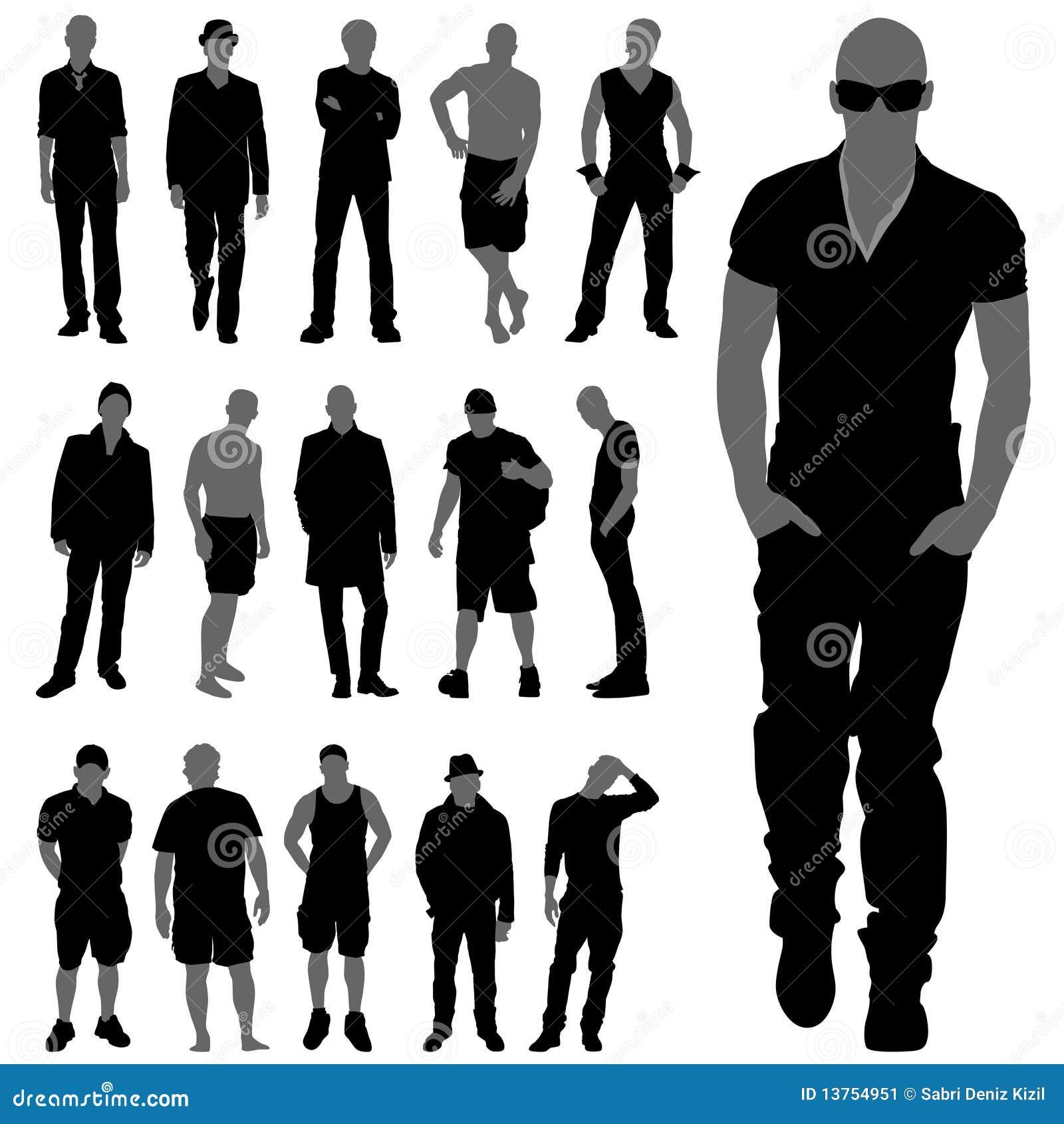 Fashion Man Silhouettes Cartoon Vector