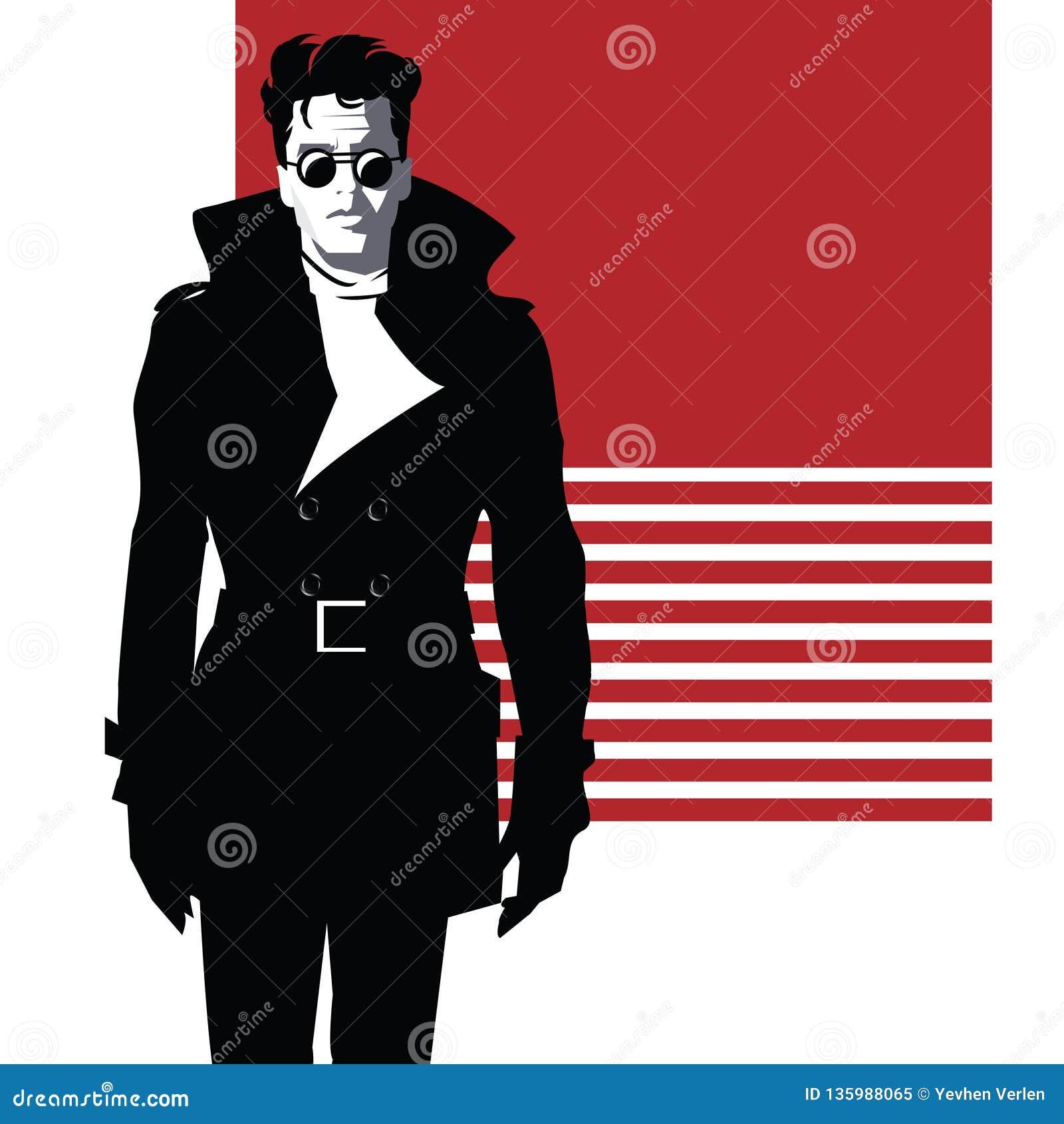 Fashion man in style pop art. Vector illustration