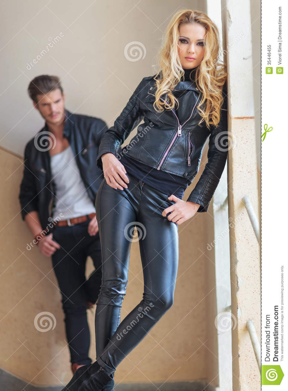 31bfe6f0cdc Fashion Man And Woman In Leather Clothes Posing Stock Image - Image ...