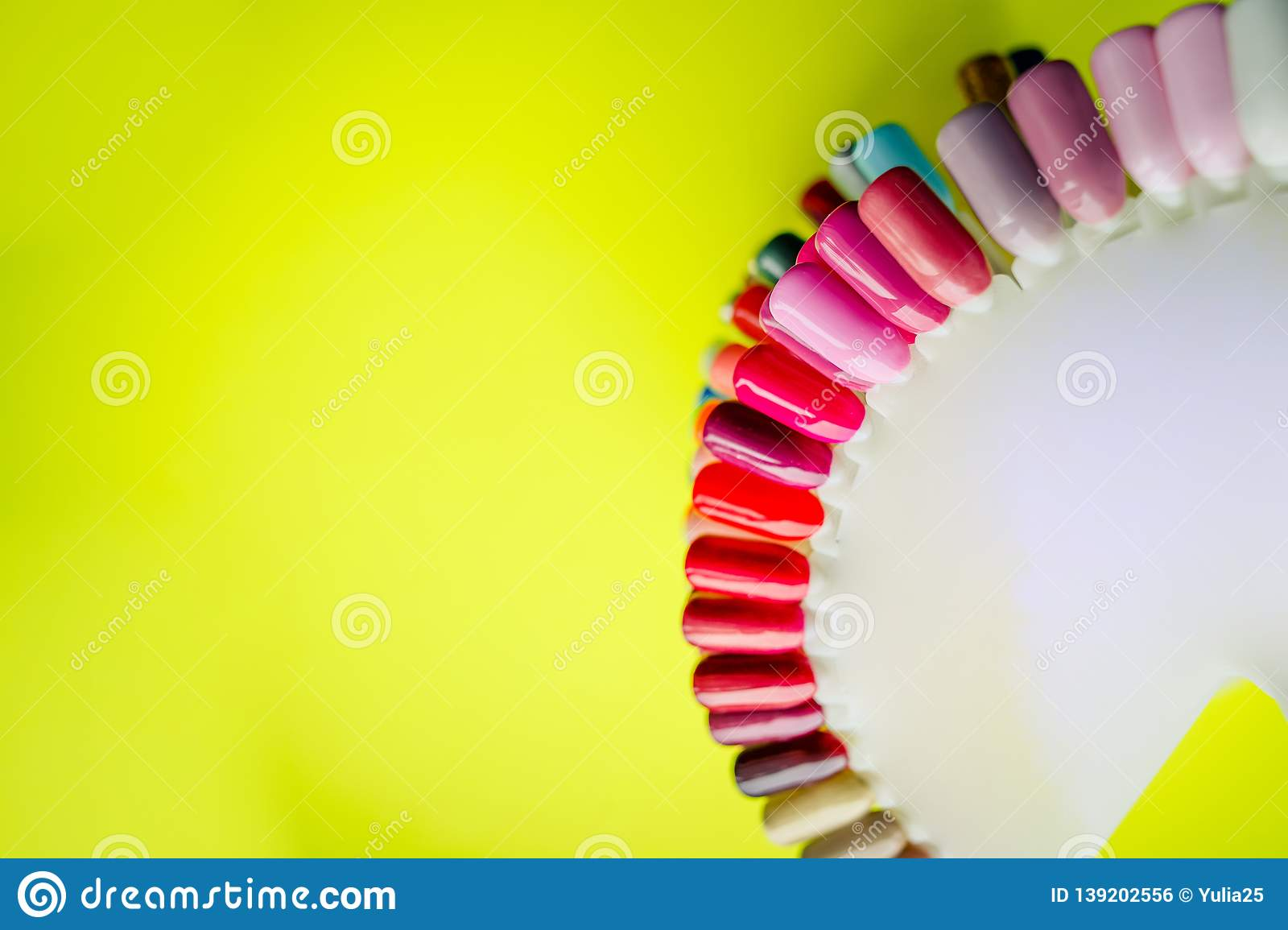 Fashion manicure. Shiny gel lacquer. Spring style. color of Polish for manicure. design for nails. testers nail Polish