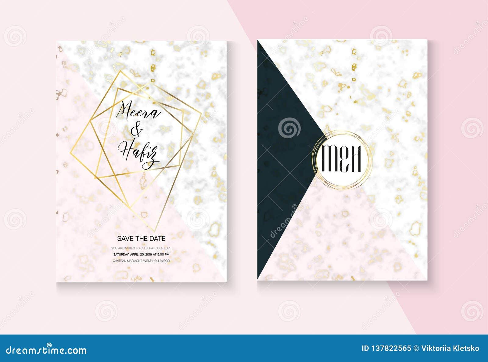 Fashion Marble Wedding Invitation Vector Set Rsvp Thank