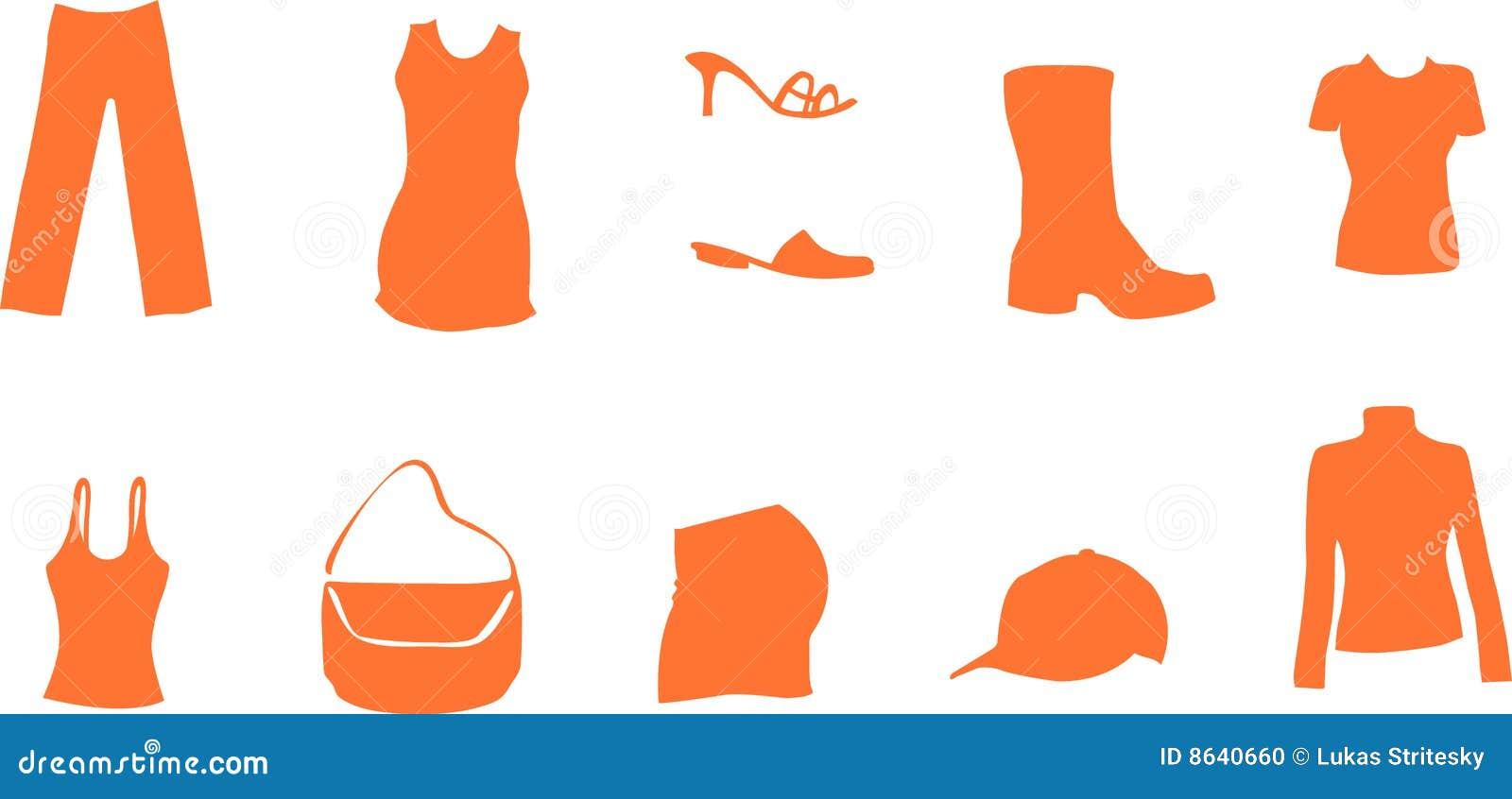 Fashion And Mode Symbols Like Shirt Shoe Dress Bag Stock Photo - Image ...