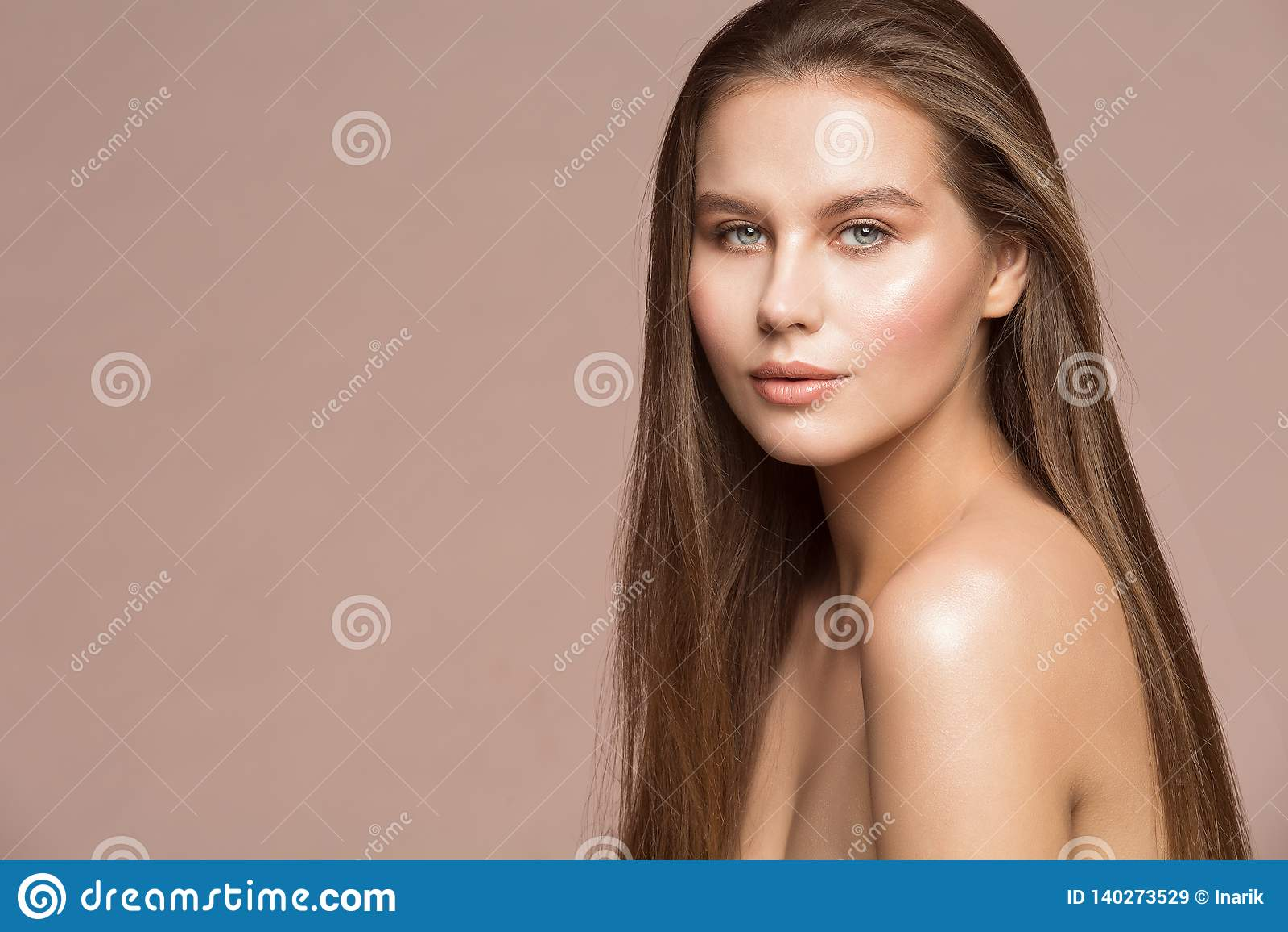 Fashion Model Beauty Makeup, Beautiful Woman Long Hair Wet Skin Make Up, Girl Studio Portrait