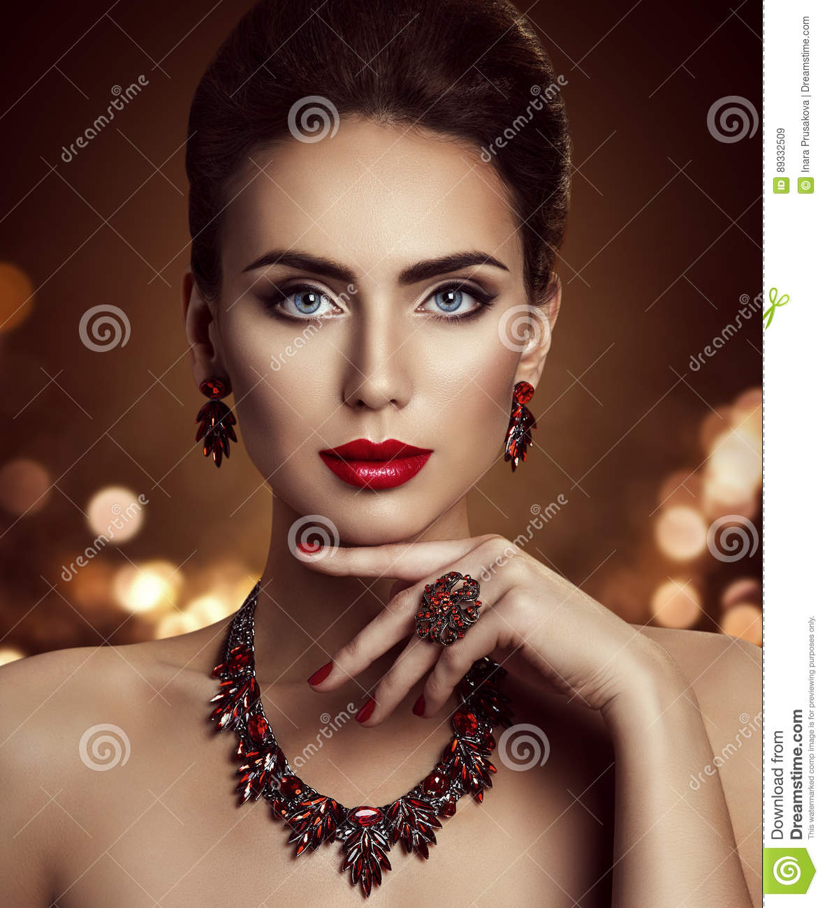 Fashion Model Beauty Makeup And Jewelry, Woman Face Make
