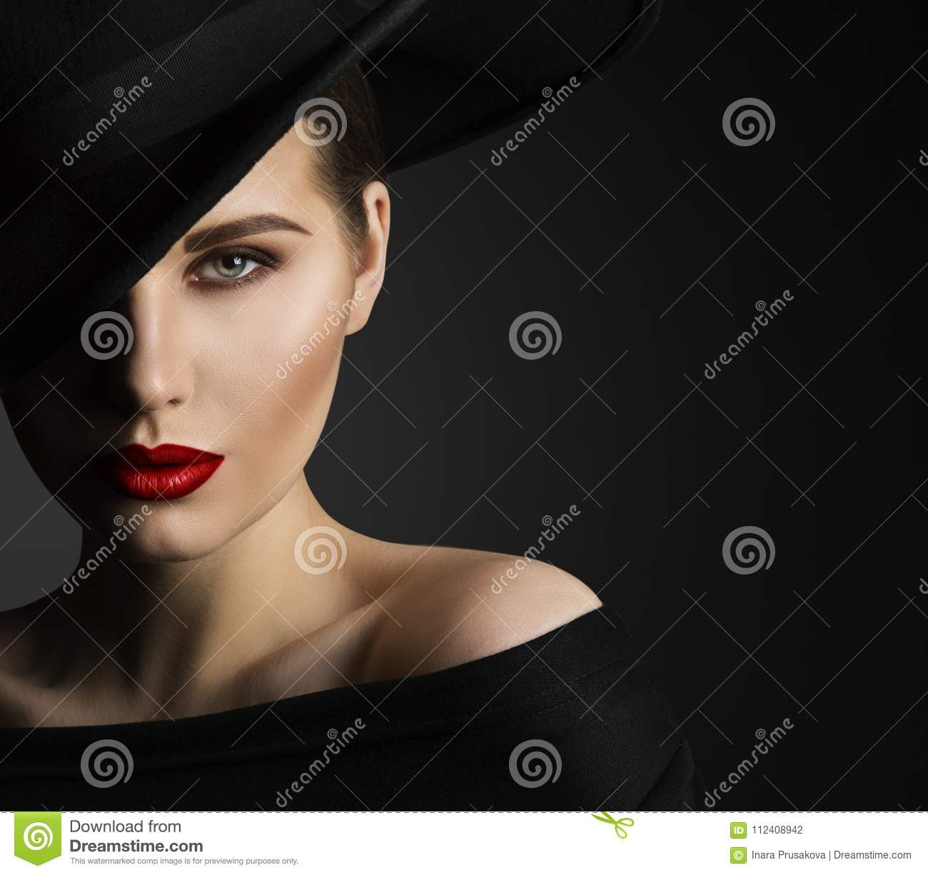 Fashion Model Beauty Portrait, Woman Beauty, Elegant Black Hat