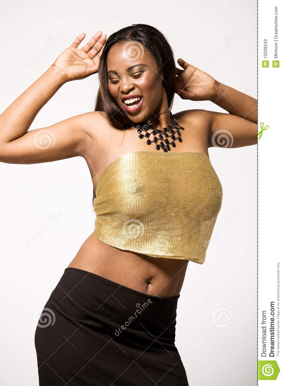 Fashion Model In Black And Gold Dress. Stock Photos - Image: 15039243