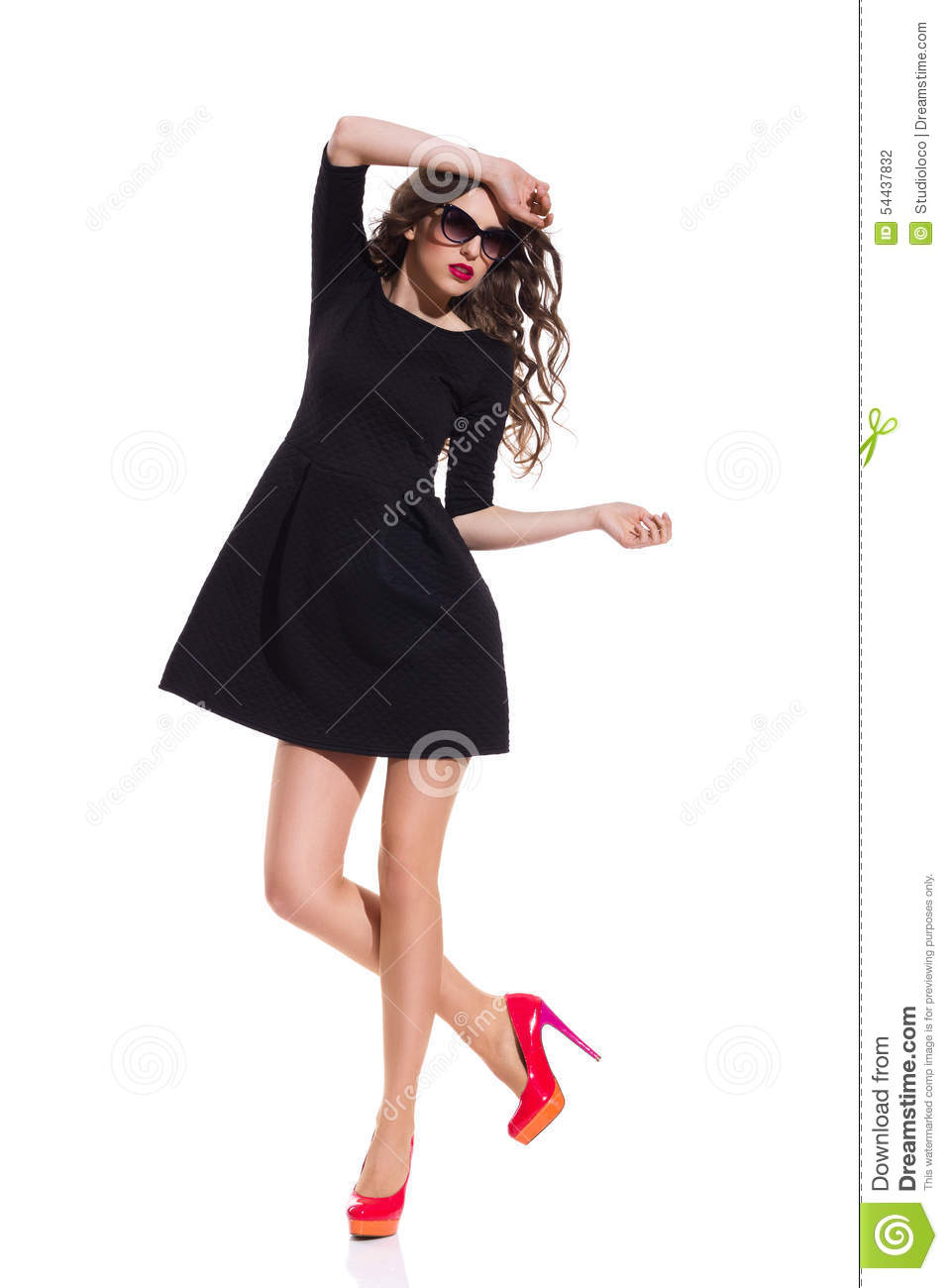 Black Dress With Red High Heels