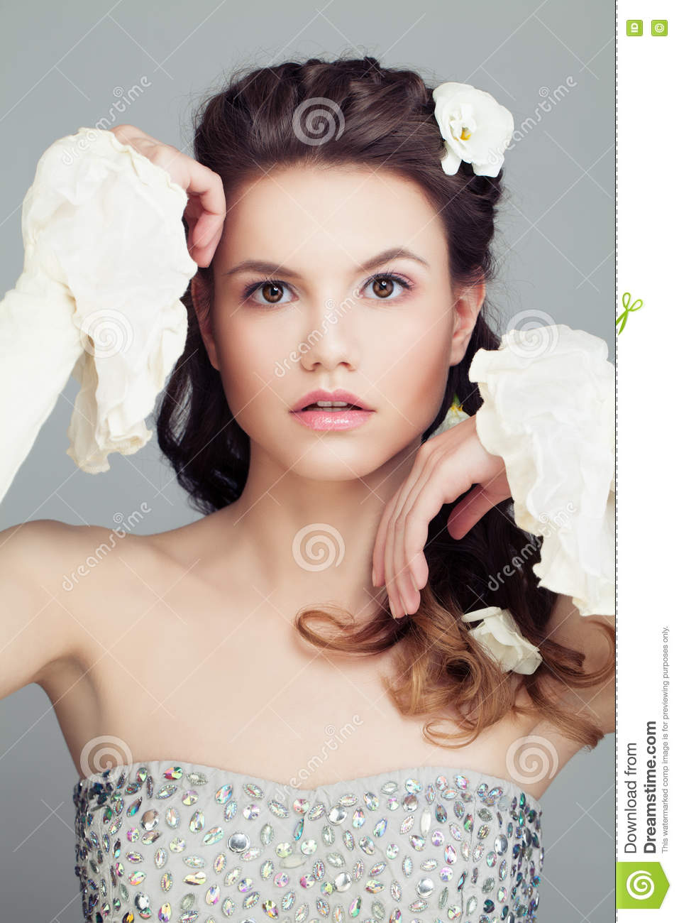 Fashion model with bridal hairstyle beautiful hair and flowers fashion model with bridal hairstyle beautiful hair and flowers izmirmasajfo