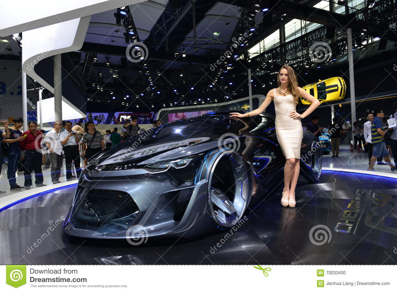 A Fashion Model On Chevrolet Fnr Concept Car Editorial Image Image