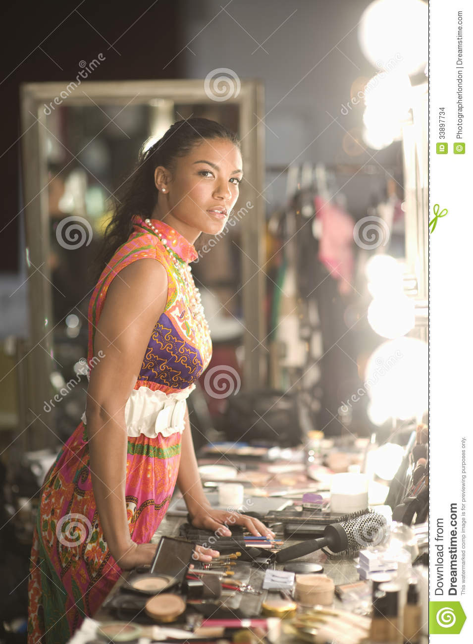 Fashion Model With Cosmetics At Dressing Room Stock Photo