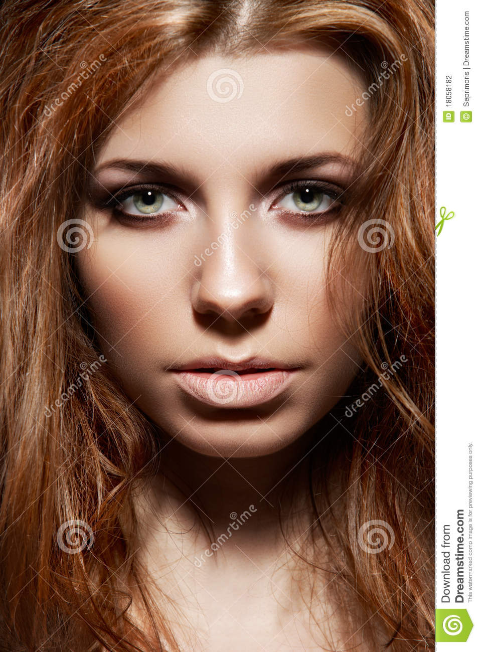 Fashion Model With Disheveled Hair Smoky Make Up Stock