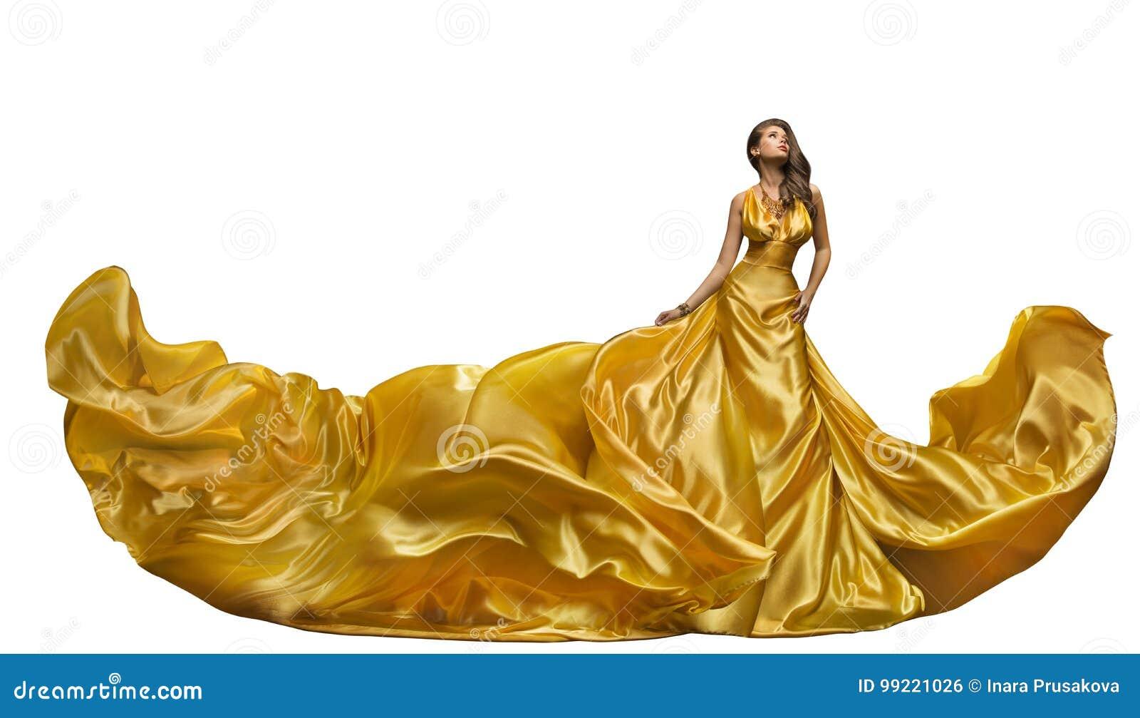 Fashion Model Dress, Woman Dance in Long Gown, Waving Golden Silk Fabric, Beautiful Girl on White