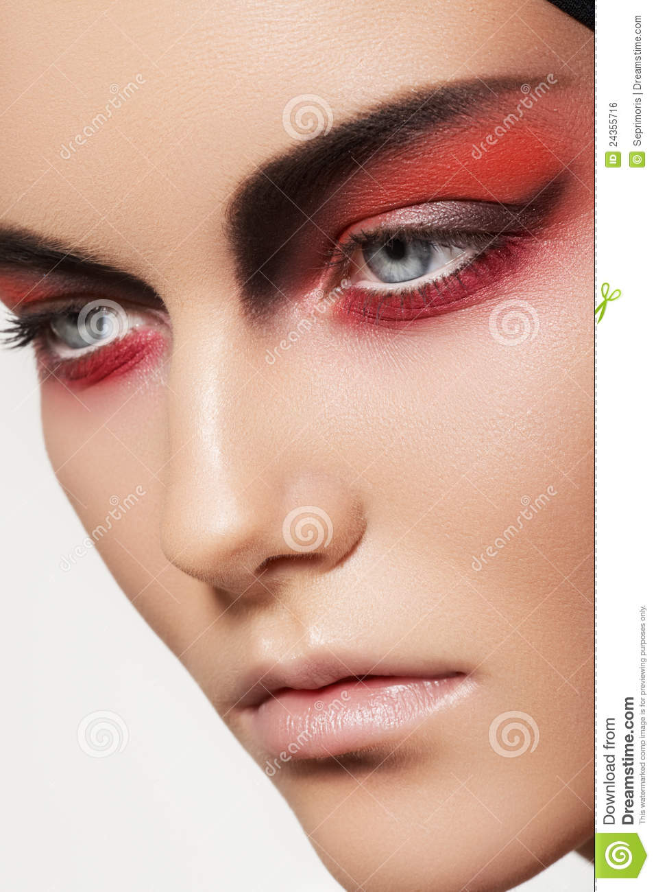 Fashion Model Face With Devil Halloween Make-up Royalty Free Stock ...