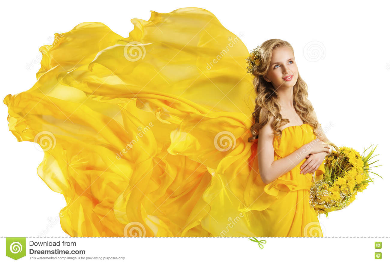 Fashion Model Girl With Flowers Bouquet Flying Dress Fabric Stock
